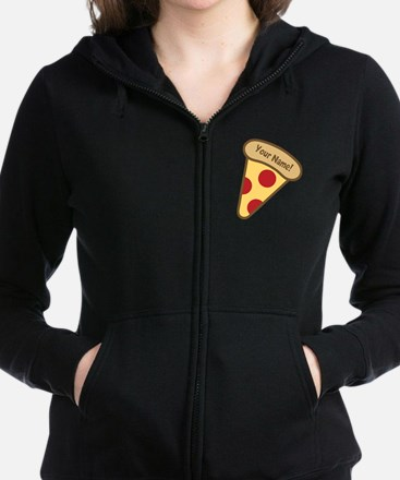 YOUR NAME Cute Pizza Women's Zip Hoodie