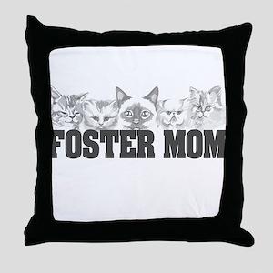 Foster Mom (cats) Throw Pillow