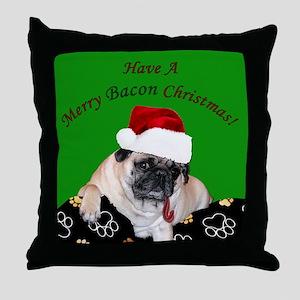 Christmas Bacon Pug Throw Pillow