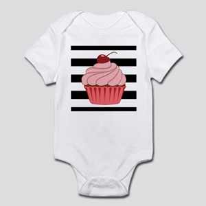 Pink Cupcake on Stripes Body Suit