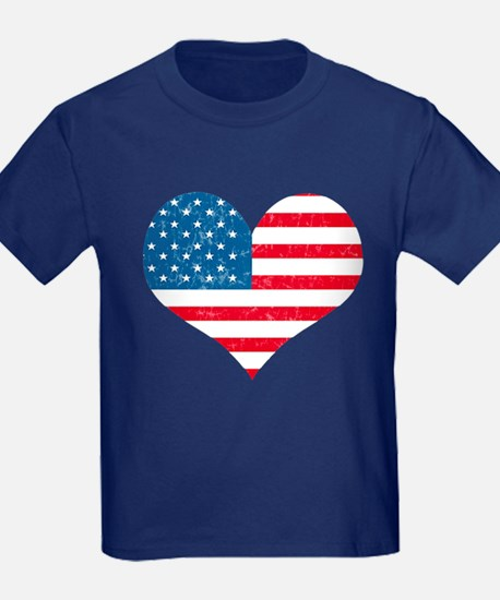 American Flag Heart T