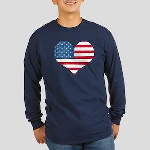 American Flag Heart Long Sleeve Dark T-Shirt