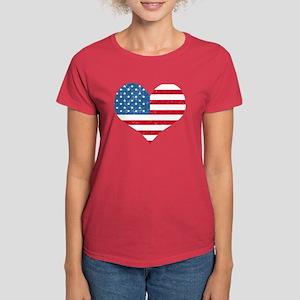 American Flag Heart Women's Dark T-Shirt