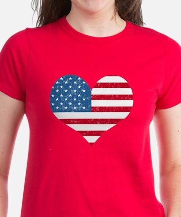 American Flag Heart Women's Dark T-Shirt