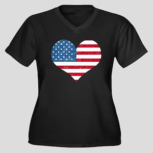 American Flag Heart Women's Plus Size V-Neck Dark