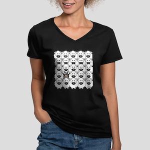 ACD and Sheep Women's V-Neck Dark T-Shirt