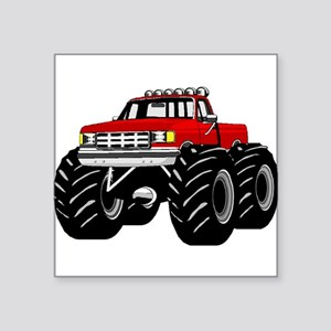 "Red MONSTER Truck Square Sticker 3"" x 3"""
