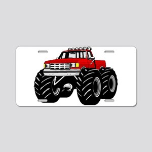 Red MONSTER Truck Aluminum License Plate