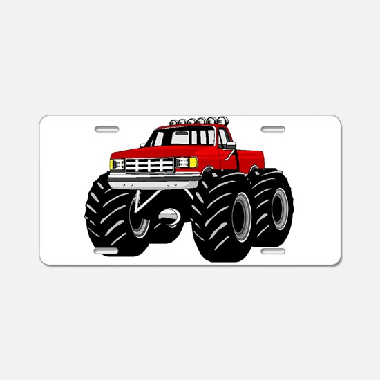 Red MONSTER Truck Aluminum License Plate