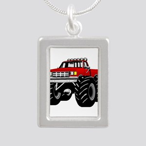 Red MONSTER Truck Silver Portrait Necklace