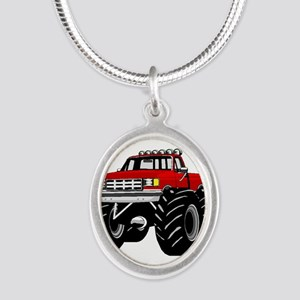 Red MONSTER Truck Silver Oval Necklace
