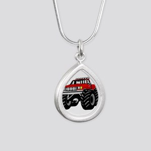 Red MONSTER Truck Silver Teardrop Necklace