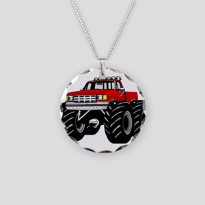 Red MONSTER Truck Necklace Circle Charm