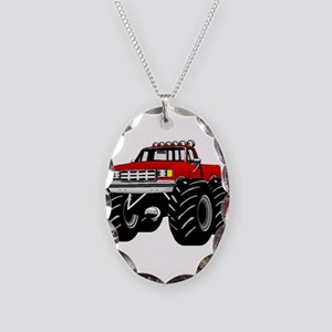 Red MONSTER Truck Necklace Oval Charm