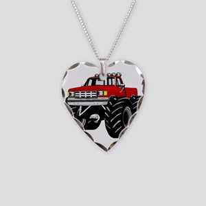 Red MONSTER Truck Necklace Heart Charm