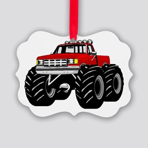 Red MONSTER Truck Picture Ornament