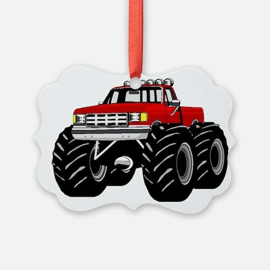 Red MONSTER Truck Ornament