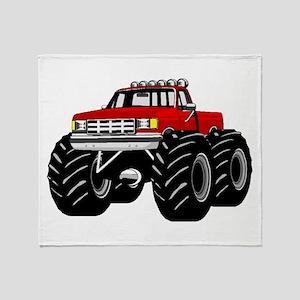 Red MONSTER Truck Throw Blanket