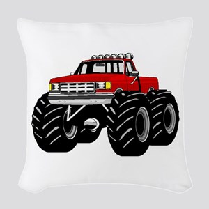 Red MONSTER Truck Woven Throw Pillow