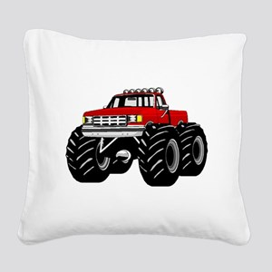 Red MONSTER Truck Square Canvas Pillow