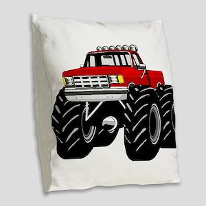 Red MONSTER Truck Burlap Throw Pillow
