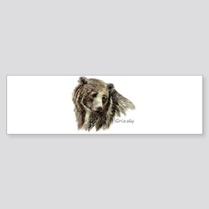 Watercolor Grizzly Bear Animal Art Bumper Sticker