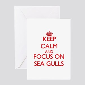Keep Calm and focus on Sea Gulls Greeting Cards