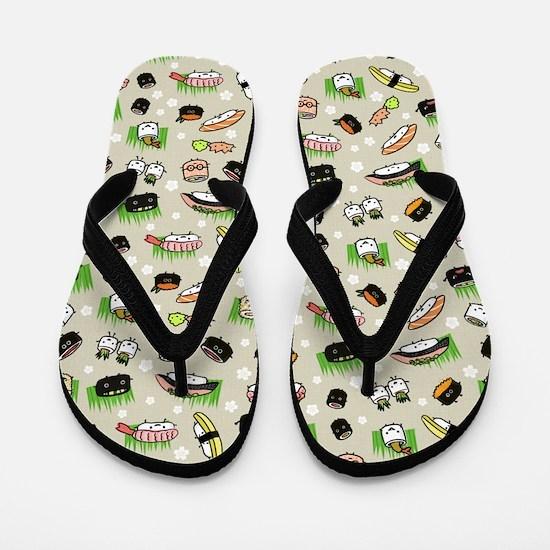 Sushi Characters Pattern Flip Flops