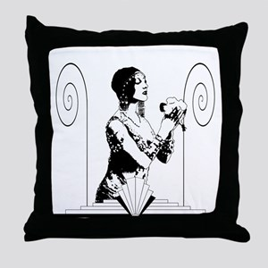Art Deco Dancer with Flowers Throw Pillow