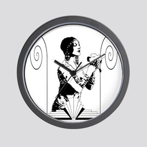 Art Deco Dancer with Flowers Wall Clock