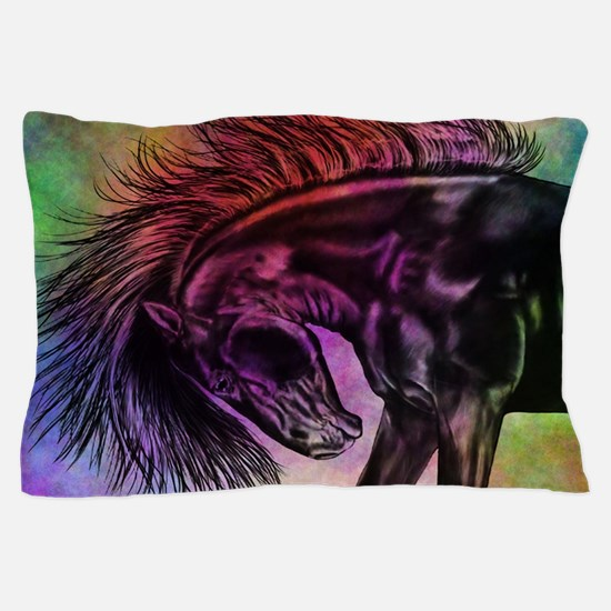 Colourful Sketched Horse Pillow Case