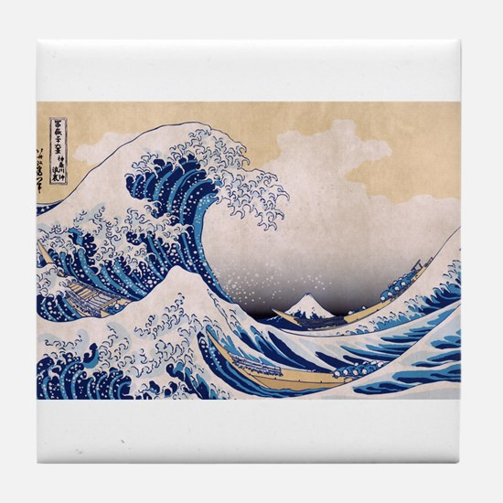 Ukiyoe Hokusai Wave Tile Coaster