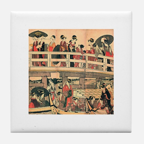 Ukiyoe The Bridge Tile Coaster