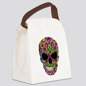 Colorful Fire Skull Canvas Lunch Bag