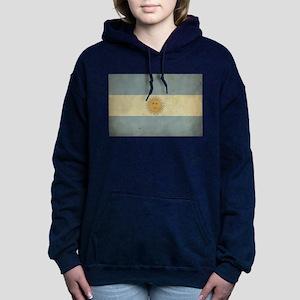 Vintage Argentina Flag Women's Hooded Sweatshirt