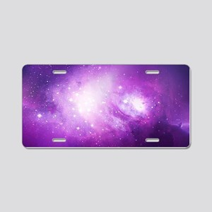 Purple Nebula Aluminum License Plate