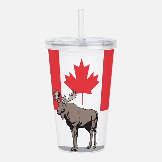 Moose With Canada Flag Acrylic Double-wall Tumbler