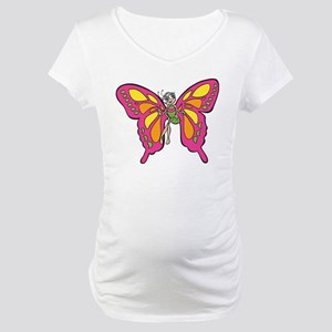Cute Pink Butterfly Maternity T-Shirt