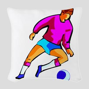 Cartoon Soccer Player Woven Throw Pillow