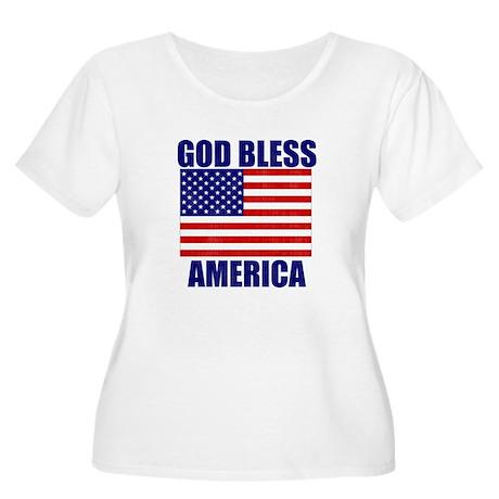 God Bless America Women's Plus Size Scoop Neck T-S