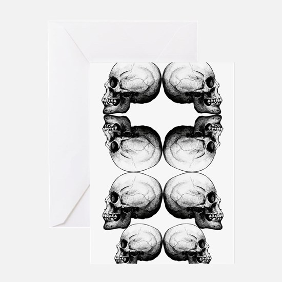 Skull Advanced Profile Dark Protect Greeting Cards