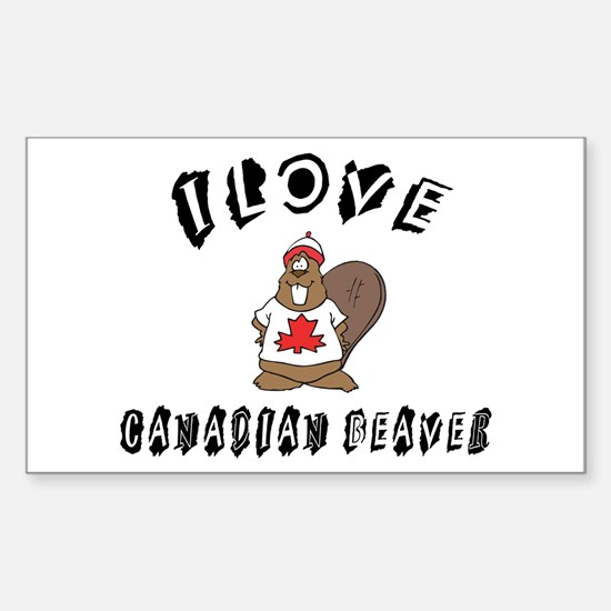I Love Canadian Beaver Rectangle Bumper Stickers