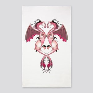 Pink Love Dragons 3'x5' Area Rug