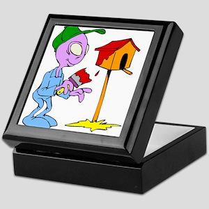 Alien painting birdhouse Keepsake Box