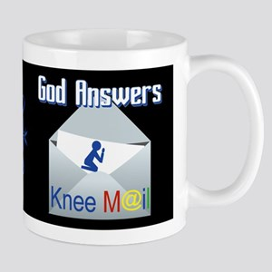 God Answers Knee Mail Mugs