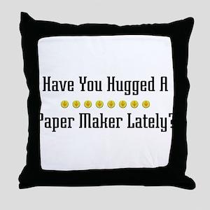 Hugged Paper Maker Throw Pillow