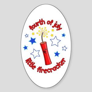 July Firecracker Oval Sticker