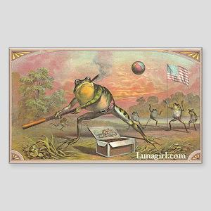 Vintage Frogs Baseball Rectangle Sticker