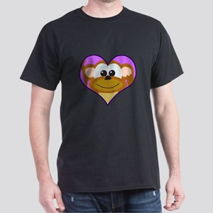 Cute Goofkins Monkey in Heart Dark T-Shirt
