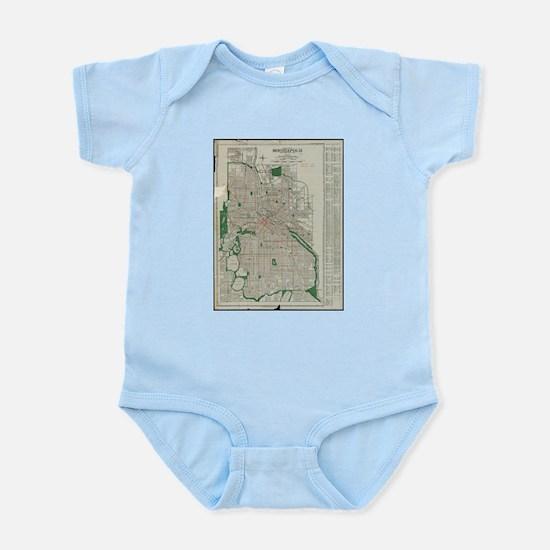 Vintage Map of Minneapolis Minnesota (19 Body Suit